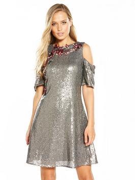 Little Mistress Sequin Cold Shoulder Skater Dress