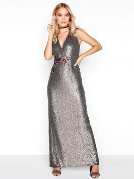 Little Mistress Sequin Maxi Dress Silver