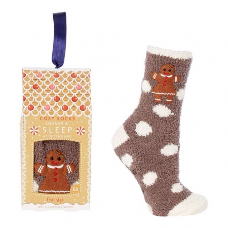 Lounge & Sleep Brown Gingerbread Appliqu Slipper Socks