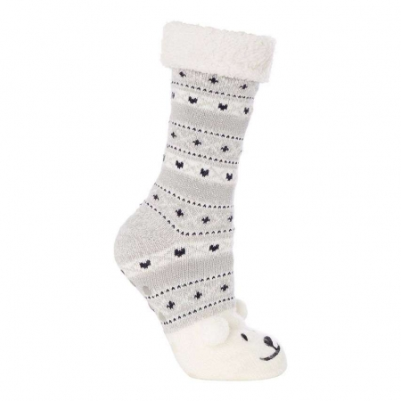 Lounge & Sleep Grey Polar Bear Embroidered Slipper Socks
