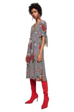 Mango Black 'Tartan' Check And Floral Print Dress