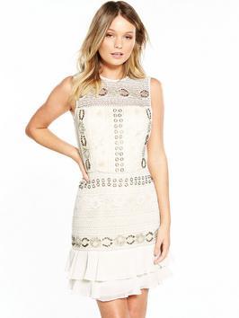 Miss Selfridge Embellished Lace Frill Hem Dress