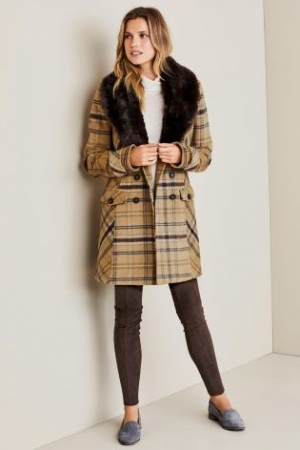 Next Check Camel Faux Fur Collar Coat