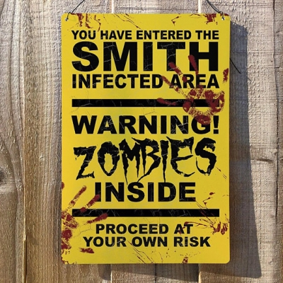 Personalised Halloween Decoration Party Plaque Zombie Vintage Metal Wall Sign