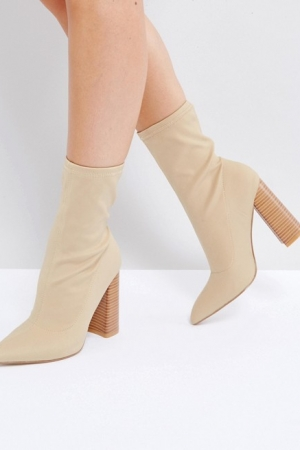 Public Desire Libby Nude High Heeled Sock Boots