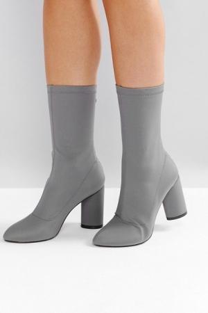 RAID Dale Dark Grey Heeled Sock Boots