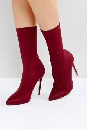 RAID Tegan Burgundy Stretch Sock Boots