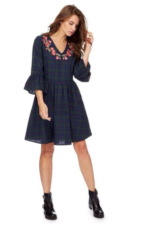 Red Herring Dark Green And Navy Checked V Neck Tunic Dress