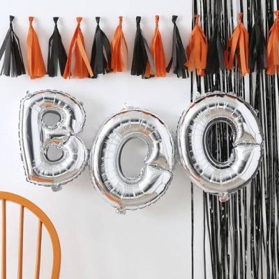 Silver Boo Halloween Balloons