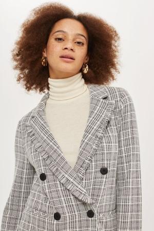 Topshop Check Jersey Frill Jacket