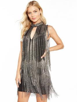 V By Very Fringed Embellished Mini Dress