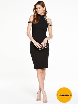 V By Very PREMIUM Embellished Cold Shoulder Dress