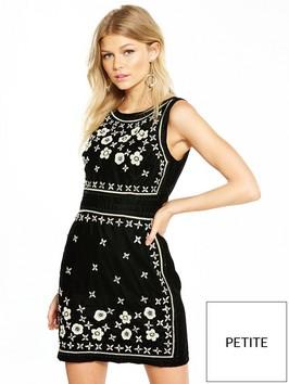 V By Very Petite Embellished Velvet Shift Dress