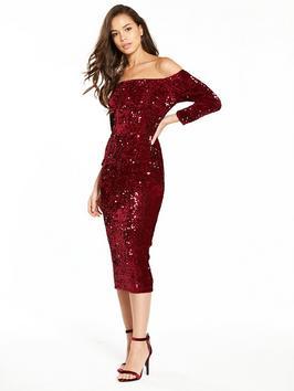 V By Very Sequin Bardot Bodycon Dress Merlot