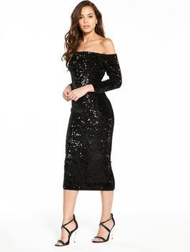 V By Very Sequin Bardot Bodycon Dress
