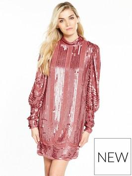 V By Very Volume Sleeve Embellished Dress Pink