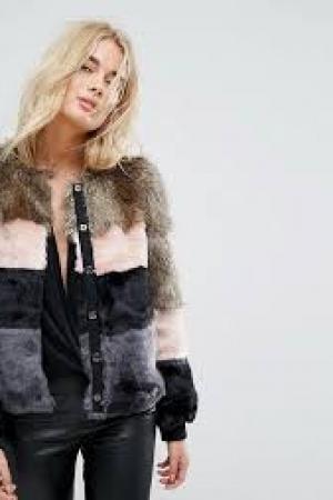 Vero Moda Colour Block Faux Fur Jacket