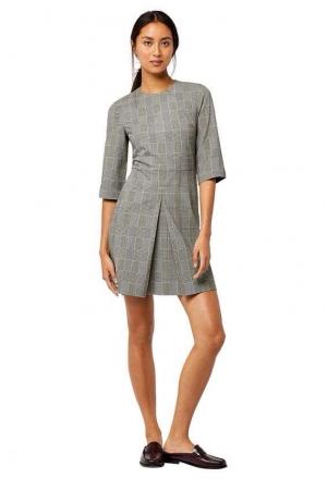 Warehouse Mono Check Box Pleat Dress