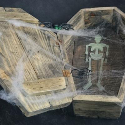 Wooden Coffin Sweetie Holder Halloween Prop