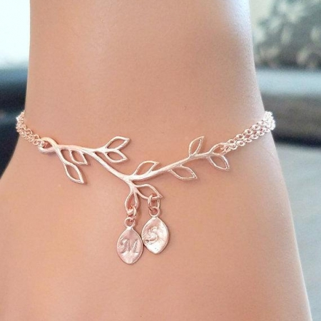 Family Tree Personalized Initial Bracelet