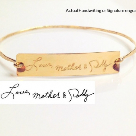 Gold Handwriting Bangle