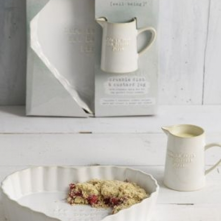 Heart Shaped Ceramic Crumble Dish And Custard Jug
