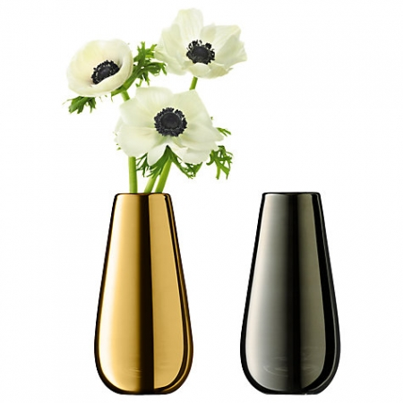 LSA International Flower Metallic Bud Vase Duo