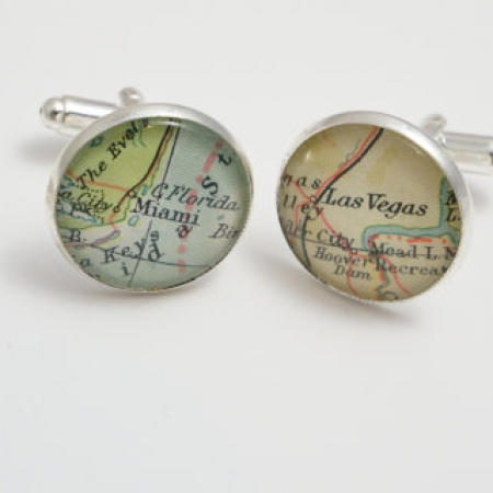 Map Cufflinks Custom Vintage Maps