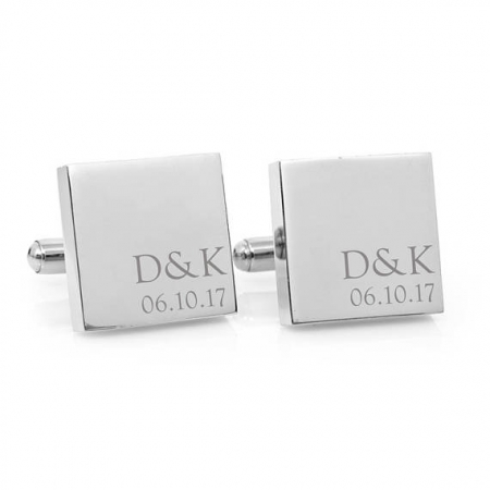 Minimalist Couple Monogram Engraved Square Silver Cufflinks