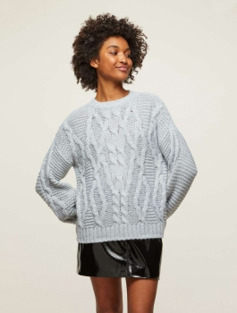 Miss Selfridge Grey Cable Knitted Jumper