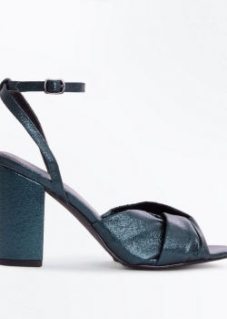 New Look Dark Green Metallic Twist Front Block Heels