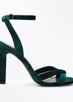 New Look Green Velvet Cross Strap Slim Block Heel Sandals