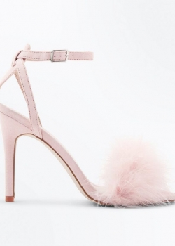 New Look Pink Suedette Feather Strap Stiletto Sandals