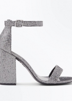 New Look Silver Metallic Glitter Block Heel Sandals