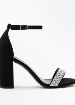 New Look Wide Fit Black Suedette Embellished Strap Block Heels