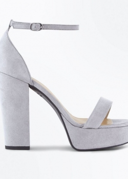 New Look Wide Fit Grey Suedette Platform Block Heels