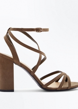 New Look Wide Fit Khaki Suedette Strappy Block Heels