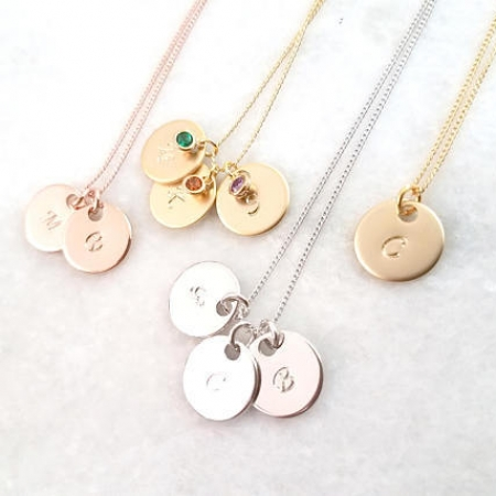 Personalized Necklace Custom Initial Necklace Birthstone