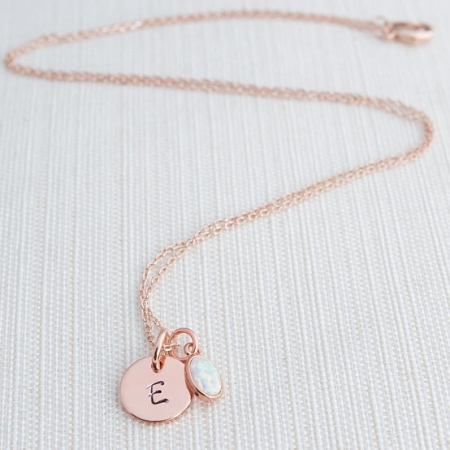 Rose Gold Initial And Opal Necklace