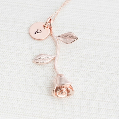 Rose Gold Initial And Rose Charm Necklace