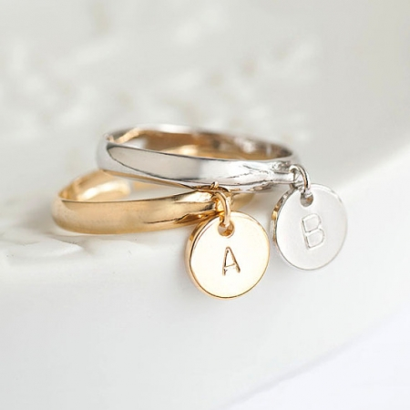 Tiny Initial Letter Round Disc Dangle Charm Ring