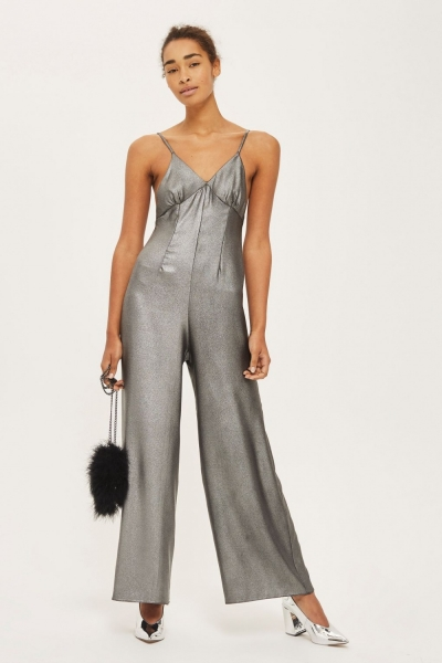 Topshop Lame Strappy Jumpsuit