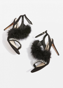 Topshop ROUGE Black Feather Heeled Sandals