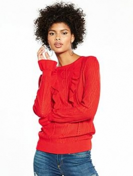 V By Very Frill Detail Mixed Stitch Jumper