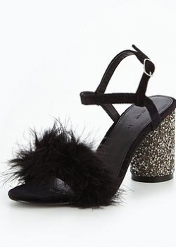 V By Very Kayla Feather Glitter Heel Sandal Black