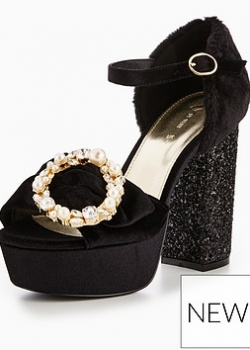 V By Very Nikita Glitter Heel Platform Sandal Black
