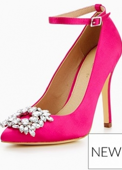 V By Very Rachel Embellished Point Court Shoe Pink
