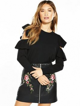 V By Very Ruffle Cold Shoulder Detail Jumper