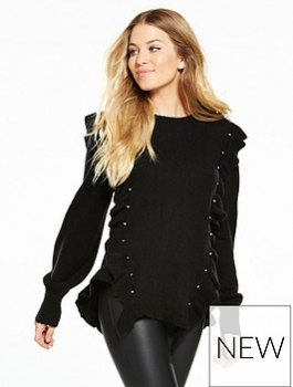 V By Very Ruffle Stud Detail Curved Hem Jumper