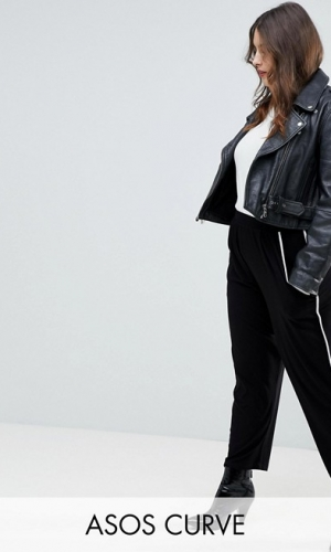ASOS CURVE Tapered Trousers With Contrast Bind
